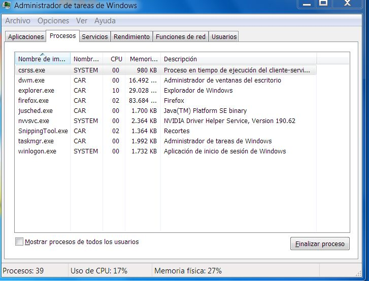 Uso del CPU 100% en Windows 7